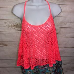 Other - NEW! Xhilaration Crochet Neon Coral Cover Up-XL